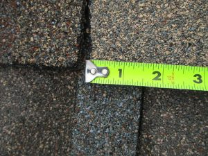 These shingles are staggered less than two inches apart; they will eventually leak